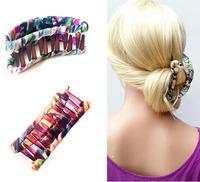 2015 New Arrival Fashion Hair Accessories Floral Fabric Hair Claws Combs Barrettes Sticks Hair Banana Clip Women