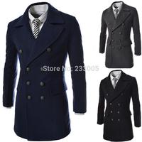 Sobretudo Casacos De La Masculino 2015 Winter Brand Mens Slim Fit Double Breasted Long Wool Coat Men Jacket Pea Coat Overcoat