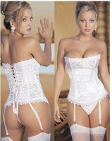 Hot SALE Free Shipping Wedding bottoming ladies white jacquard court corset sexy lingerie temptations Europe