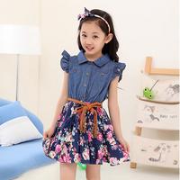 free shipping high quality children's fashion dress girl's slim denim one-piece dress child dress