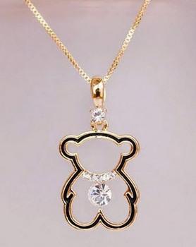 2014 новый высокое качество милый маленький медведь ожерелье мода полые женщин ожерелья позолоченные T0436
