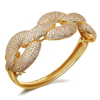 CZ Cubic Zirconia Bangle Chain Chunky Unique Luxury Platinum AAA Crystal Clear Gold Jewelry Gift Fancy Free Sale - VC Mart
