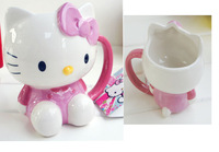 Super cute zakka pink hello kitty mug ceramic coffee mug with lid, office drinking mug,  child gift