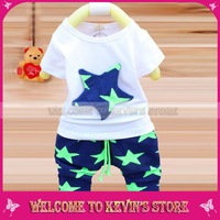 2014 summer short-sleeved two piece suit pants in the explosion/Free shipping child star leisure suit
