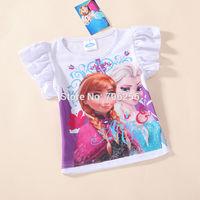 Free Shipping  Kid girl baby child children t shirt short sleeve clothes cotton Princess 2-7T 5pcs/lot FT03