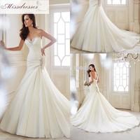 Criss-Cross pleated wedding gown Strapless Y21446 Mermaid Wedding Dresses bridal dresses Corset back Long Train European 2015