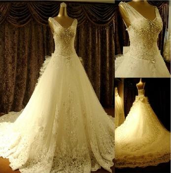 2015 новое поступление мода супер игристые кристалл сексуальная люкс большой поезд свадебное платье свадебное платье Vestido де Novia