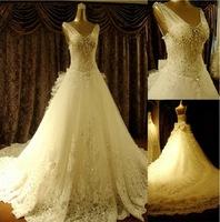 2015 New Arrival Fashion Super Sparkling Crystal Sexy Luxury Big Train Wedding Dress Bridal Gown Vestido De Novia