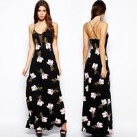 XS - XXL Orchid Print Gauze Spaghetti Strap Dress Women Racerback Side Placketing Flower Long Maxi Dress Plus Size 2014 Summer