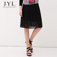 Pleated midi skirt women summer skirt 2014,black women high waist elastic skirt,solid color brand design pleated chiffon skirts