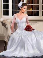 2015 New Sexy Bateau Neckline A-Line Beaded Crystal Long Sleeves Wedding Dresses Floor length White ZY014