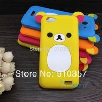 1pcs Jellryfish Flower Butterfly TPU Soft Case Cartoon Flat Rilakkuma Lazy Bear Soft Silicone Cover for HTC One V T320E