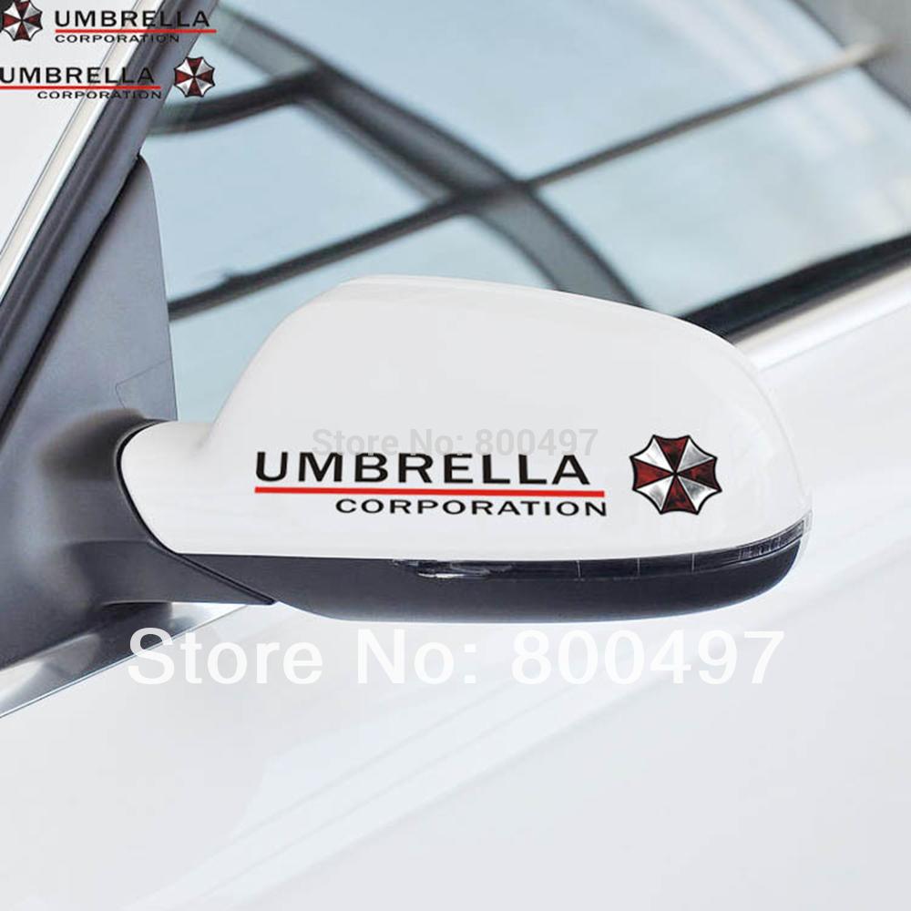 2 x Car Stickers Rear View Mirror Car Reflective Umbrella Decal for Tesla Ford Chevrolet Volkswagen Honda Hyundai Kia Lada(China (Mainland))