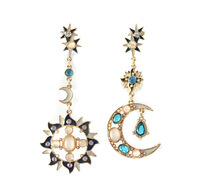 Designer Jewelry Fashion Jewelry Gold Color Alloy Hollow Out Moon and Sun Colorful Imitation Crystal Enamel Drop Earrings