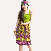 Wholesale Sexy Women  Summer Floral Boho Beach Sleeveless Maxi Dress Sundress Free shipping