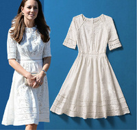 2014 Princess Kate Summer New Dress Computer Jacquard Hollow Out Knee-Length Pleated Dress freeshipping