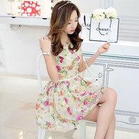 2014 Spring Summer Women Sweet Floral Organza A-line Dress Korean Elegant O-neck  Slim Knee-length Princess Dress