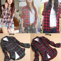 Korean preppy style casual cotton women long-sleeved plaid shirt  Slim Jacket T011