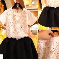 Free shipping Autumn Summer Crop top and skirt set Three-dimensional Flower beading Short-sleeve Puff half-length Skirt twinset