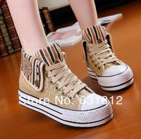 new 2014 women Sneakers block decoration high canvas shoes platform cotton-made shoes canvas shoes female casual shoes