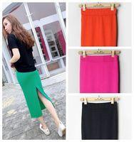 The new spring and summer women's slim casual high waist jag midi skirt cotton pencil skirt KZ015