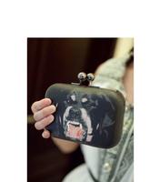 2014 top quality women's handbag dog print black leather day clutch black chain small should bag free shippng