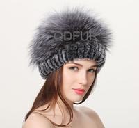 Autumn Winter Women's Genuine Rex Rabbit  Fur Caps with Silver Fox Fur Ball Ladies' Elegent Hats QD70092