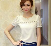 New Spring 2014 Lace Blouses Women Ladies Blouse  short sleeve Shirt Blusas Femininas