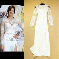 Celeb Style  New 2014 Women Clothing Runway Fashion Ladies Elegant Lace Crochet Slim Sexy Full Dress One-piece Dress  F16028