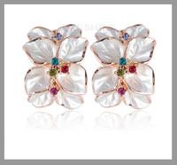 Wedding Jewelry Women Earrings Bijoux 18K Rose Gold Plate Genuine SWA Elements Austrian Crystal Enamel Flower Earring