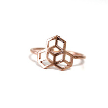 R119 Honeycomb Ring Honey Bee House Ring car s symbol rings