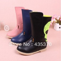 New 2014 fashion girl shoes medium-leg child autumn winter leather boot female boots bling skull bright color EU size 25-29