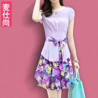 Free shipping 2014 summer women's loose o-neck short-sleeve lacing irregular print dress faux two piece chiffon one-piece dress
