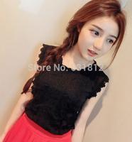 new 2014 women Blouses Summer female basic vest sleeveless scalloped lace chiffon shirt spaghetti strap vest top