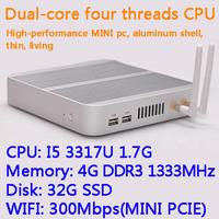 4G/32G SSD WIFI Intel Core I5 3317U dual core four threads desktop motherboard mini living room hosts aluminum chassis HTPC