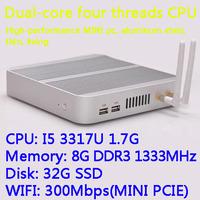 8G/32G SSD WIFI Intel Core I5 3317U dual core four threads desktop motherboard mini living room hosts aluminum chassis HTPC