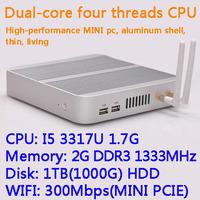 2G/1TB(1000G) HDD WIFI Intel Core I5 3317U dual core four threads desktop motherboard mini living room hosts aluminum chassis