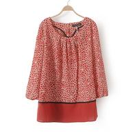 Casual Women Red/Black Print Blouse Chiffon Elegant Ladies Geometric Shirt Top Plus Big Large Size XXL 2014 New Fashion Summer