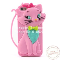 Free Shipping +Cute Bow Tie Lovecat Silicone Cover for iPhone 5s 5-Pink