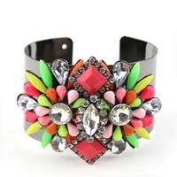 high quality 2014 fashion shourouk style jewelry bracelet colorful stone crystal cuff bracelet bangle for women