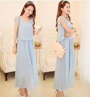 free shipping women's summer one-piece dress  beach bohemia full dress chiffon plus size clothing lady's solid dress