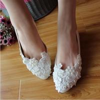 White flat bridal wedding shoes handmade lace pearls bridesmaid  flat heel single shoes