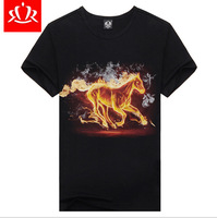 Mens t shirts Fashion 2014 Short Sleeve Loose Casual Horse Printed 3D t shirt Plus Size Male Tops Tee Camisetas Masculinas