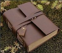 Free Shipping Quality Genuine Leather Vintage Notebook Notepad Travel Journal Diary Book Creative Gift Handmade