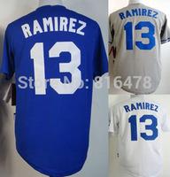 cheap Hanley Ramirez Jersey 13# Cool Base Los Angeles Dodgers Jerseys White Blue Grey men's baseball jerseys, high quality