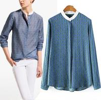 2014 Fashion Long Sleeve Stand Collar Women Cheer Blouse Casual Chain Print Cotton Shirt Blusas Femininas ZA design Lady Tops