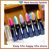 Fashion double color nude 6pcs/lot matte lipstick rouge lipstick brand makeup lipsticks high quality lips H2157 Free Shipping