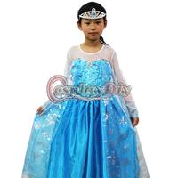 Free Shipping Custom Made Frozen Princess Elsa Dress Costume For Kids