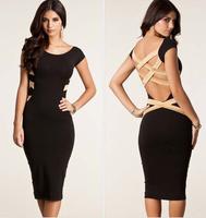 2014 summer  women summer dress Bandage Dress Celebrity backless bodycon dresses pencil sexy knee-length dress