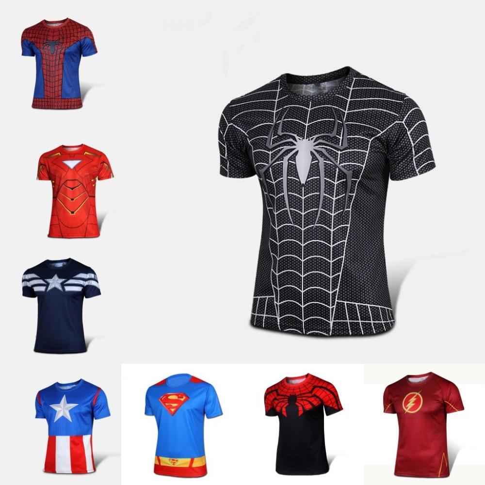 Free shipping 2015 t-shirt Superman/Batman/spider man/captain America /Hulk/Iron Man / t shirt men fitness shirts men t shirts(China (Mainland))